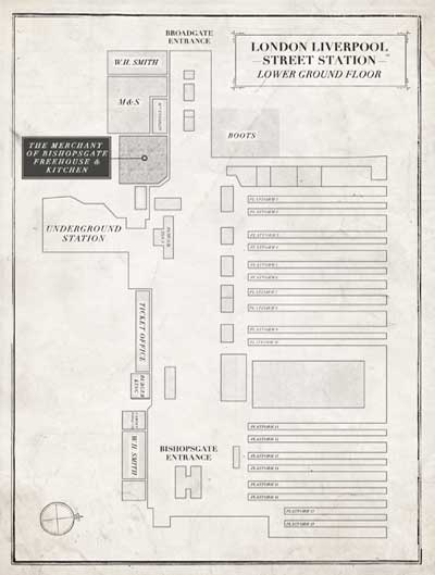 The Merchant of Bishopsgate Freehouse & Kitchen Station Map